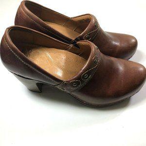 Dansko Riki Studded Brown Leather Heeled Clogs 38
